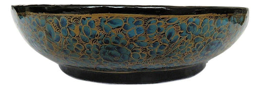 IndicHues Handcrafted Paper Mache Bowl  with Blue and Golden shade from Kashmir - IndicHues