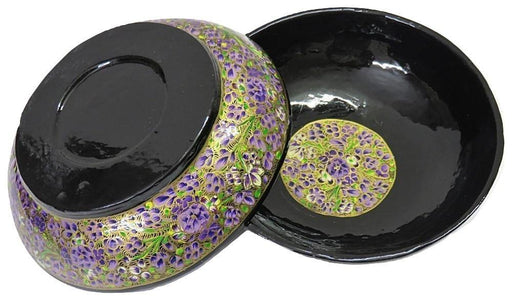 IndicHues Handcrafted Papier Mache Purple Bowl Set of 2 from Kashmir - IndicHues