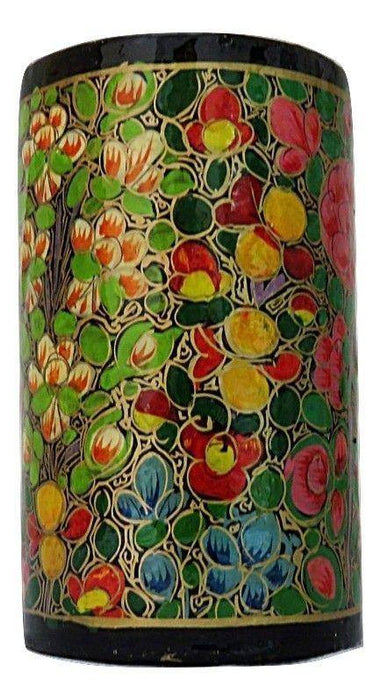 IndicHues Handmade Paper Mache Pen Stand with Floral Motif from Kashmir - IndicHues