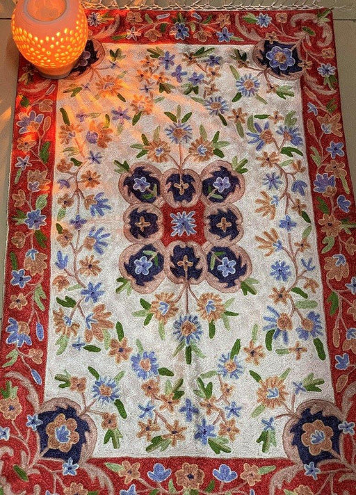 IndicHues Handmade Crewel  Embroidered With Silk Thread 2x3 feet Rug From Kashmir - IndicHues