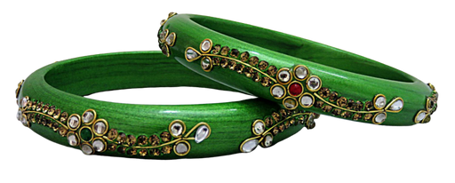 IndicHues Handmade Green Lac Bangles with stone work in set of 2 from Rajasthan - IndicHues