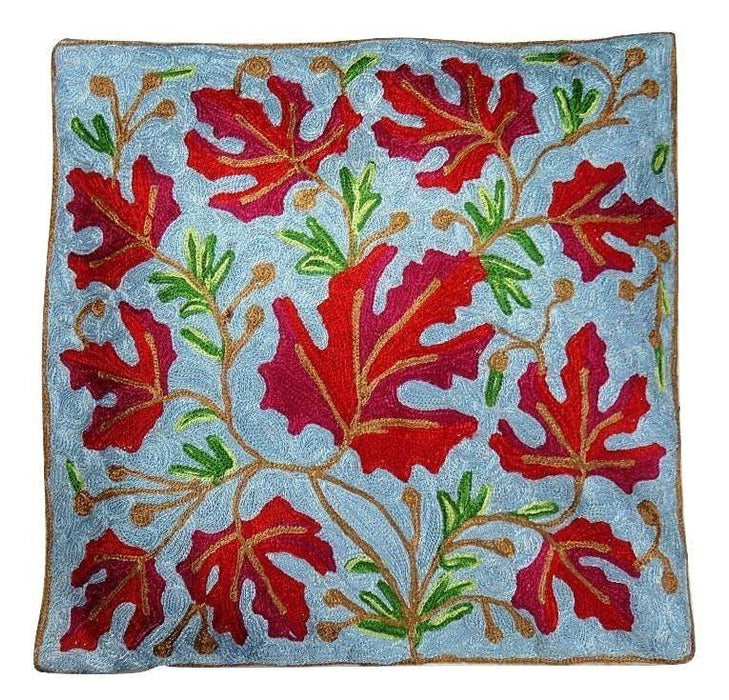 IndicHues Hand Embroidered Kashmiri Crewel 16x16 Cushion Cover in Red Chinar motif with Light Blue Base - IndicHues