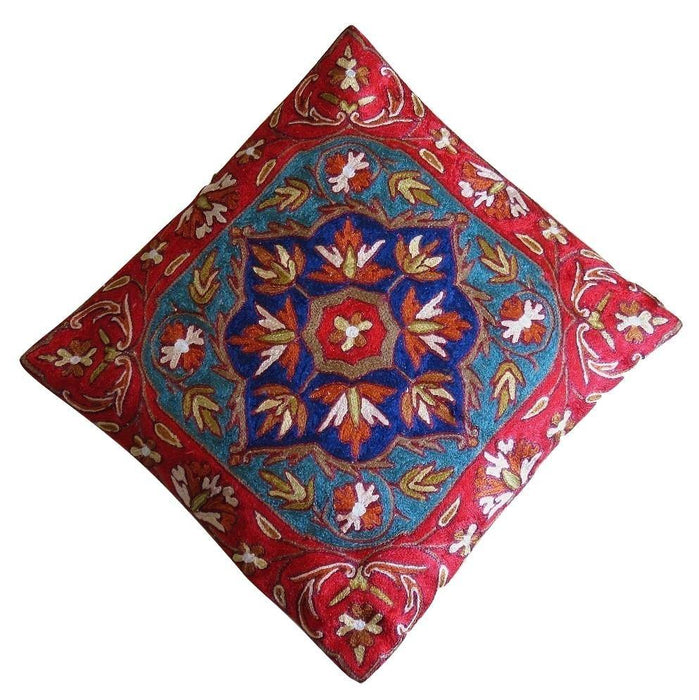 IndicHues Hand Embroidered Kashmiri Crewel 16x16 Cushion Cover in Floral motif with Red Border - IndicHues
