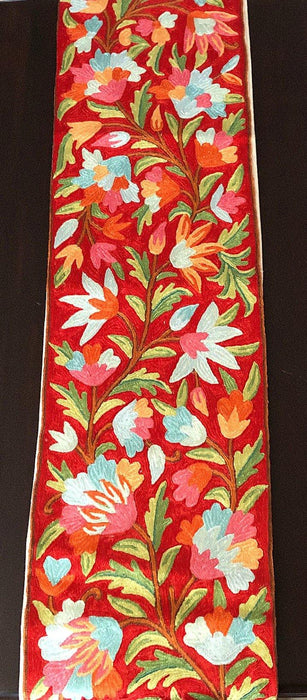IndicHues Handmade Hand Embroidered With Silk Thread Crewel Work Table Runner From Kashmir
