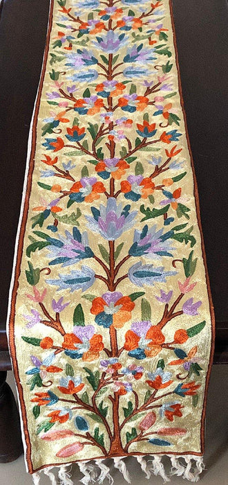 IndicHues Handmade Hand Embroidered With Silk Thread Crewel Work 1x6 feet Table Runner From Kashmir - IndicHues