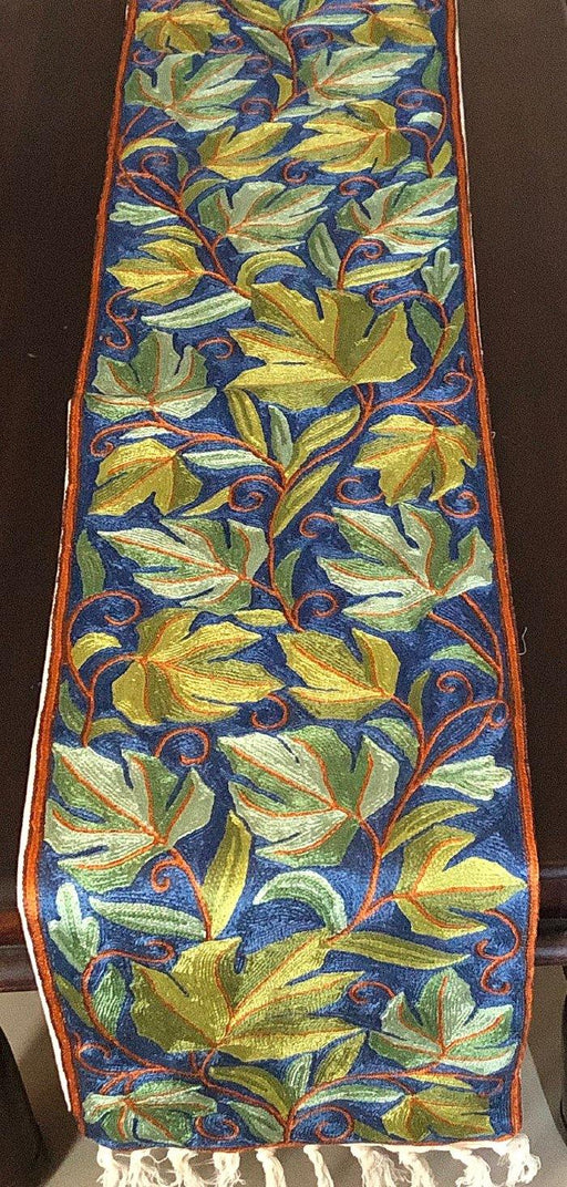 IndicHues Handmade Hand Embroidered With Silk Thread Crewel Work 1x5 feet Table Runner From Kashmir - IndicHues