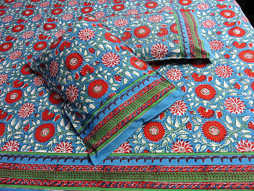 IndicHues Handmade Hand Block Printed Double Bedsheet with two pillow covers in Red Floral Motifs With Green Base - IndicHues