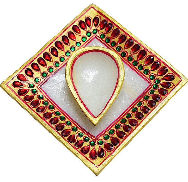 IndicHues Handmade Marble Diya with Tray