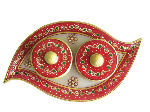 IndicHues Handmade Marble Handicraft Curvy Shaped Dry Fruit / Mouth Freshener / Mukhwas Tray With Two Boxes - IndicHues