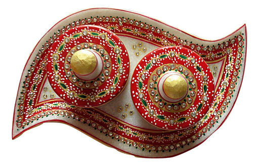 IndicHues Handmade Marble Handicraft Curvy Shaped Dry Fruit Tray With Two Boxes - IndicHues