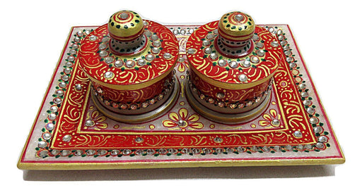 Handmade Marble Small Dry Fruit Box with Tray - IndicHues