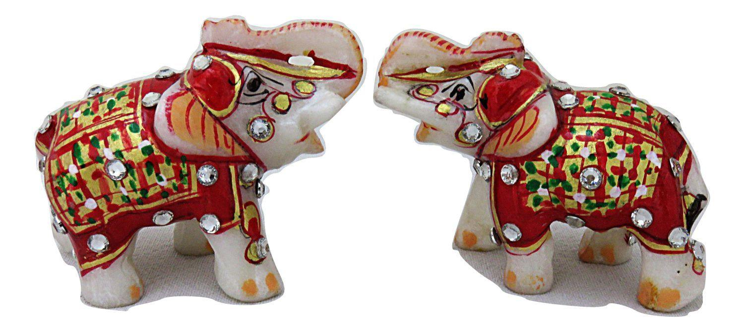 IndicHues Handmade Marble Lucky Elephant statue Handicraft pair in 2 inch - IndicHues