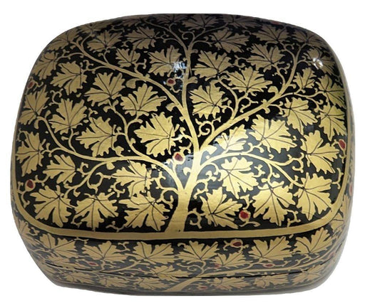 IndicHues Handmade Rectangular Golden Leaves with Black Base Paper Mache Jewelry Box from Kashmir - IndicHues