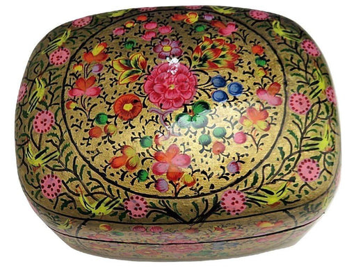 IndicHues Handmade Rectangular Floral Motif  with Golden Base Paper Mache Jewelry Box from Kashmir - IndicHues