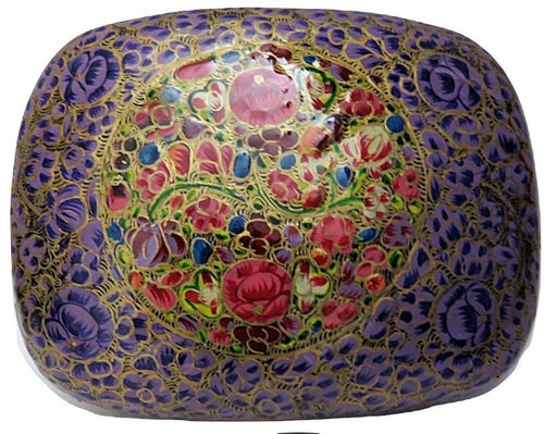 IndicHues Handmade Rectangular Floral Motif  on Purple Base Paper Mache Jewelry Box from Kashmir - IndicHues