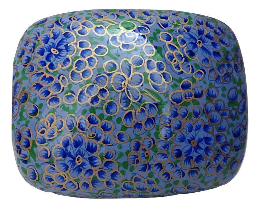 IndicHues Handmade Rectangular Blue and Golden Floral Motif Paper Mache Jewelry Box from Kashmir