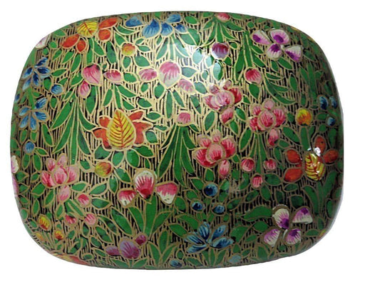IndicHues Handmade Rectangular Floral Motif  with Green Base Paper Mache Jewelry Box from Kashmir - IndicHues