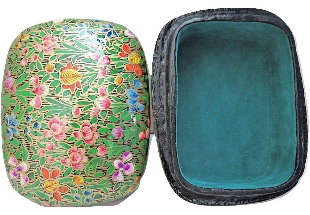 IndicHues Handmade Rectangular Floral Motif  with Green Base Paper Mache Jewelry Box from Kashmir