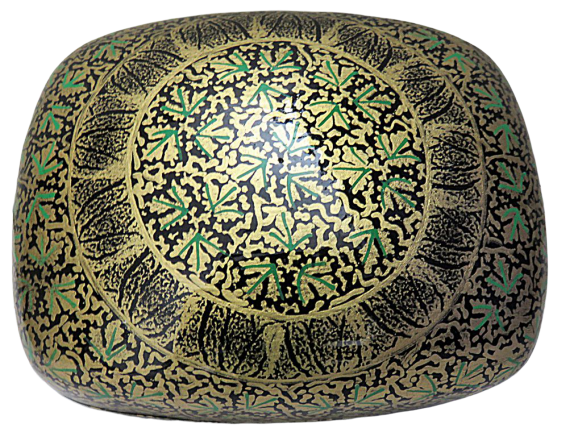 IndicHues Handmade Rectangular Green Golden Chinar leaves Paper Mache Jewelry Box from Kashmir - IndicHues