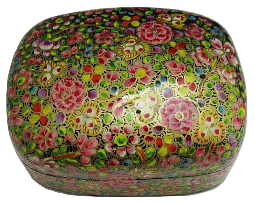 IndicHues Handmade Rectangula Pink Floral Motif with Golden Base Paper Mache Jewelry Box from Kashmir