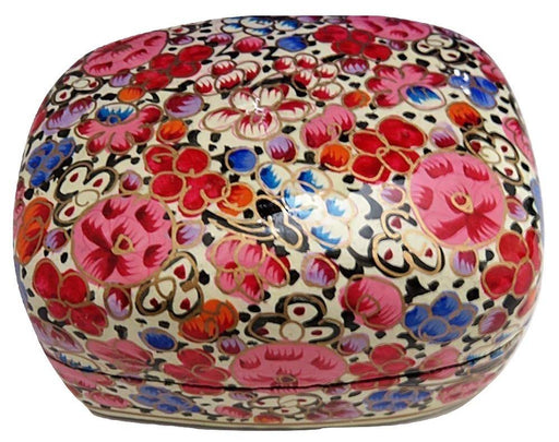 IndicHues Handmade Rectangular Red Pink Floral Motif Paper Mache Jewelry Box from Kashmir - IndicHues