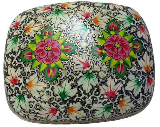 IndicHues Handmade Rectangular Red White Floral Motif Paper Mache Jewelry Box from Kashmir