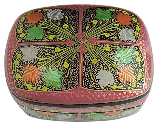 IndicHues Handmade Rectangular Chinar Leaves on Pink Base Paper Machie Jewelry box from Kashmir - IndicHues