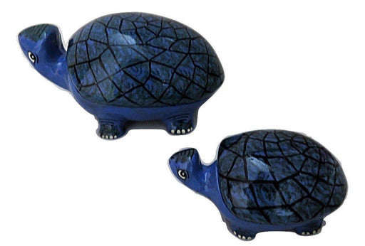IndicHues Handmade Paper Mache Tortoise set in Blue color from Kashmir - IndicHues