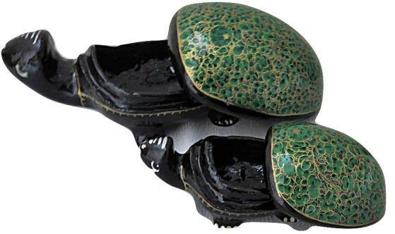 IndicHues Handmade Paper Mache Tortoise set  in Green floral motif from Kashmir