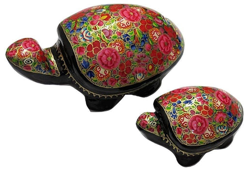 IndicHues Handmade Paper Mache Tortoise set  in Pink and Red floral motif from Kashmir - IndicHues