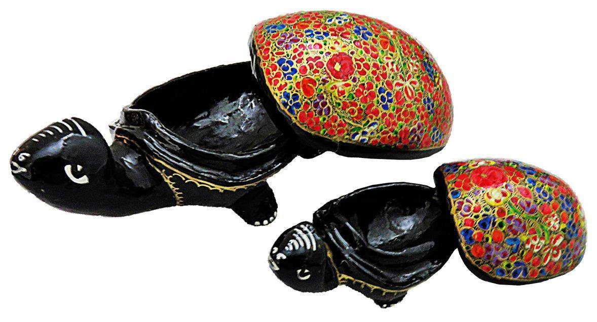 IndicHues Handmade Paper Mache Tortoise set  in Red floral motif from Kashmir - IndicHues