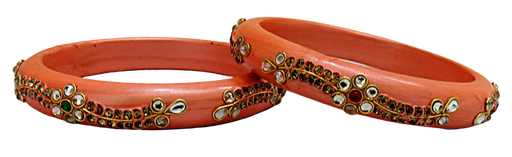 IndicHues Handmade Peach Lac Bangles with stone work in set of 2 from Rajasthan - IndicHues