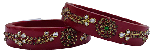 IndicHues Handmade Red Lac Bangles with stone work in set of 2 from Rajasthan - IndicHues
