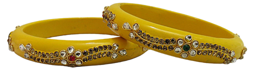 IndicHues Handmade Yellow Lac Bangles with stone work in set of 2 from Rajasthan - IndicHues