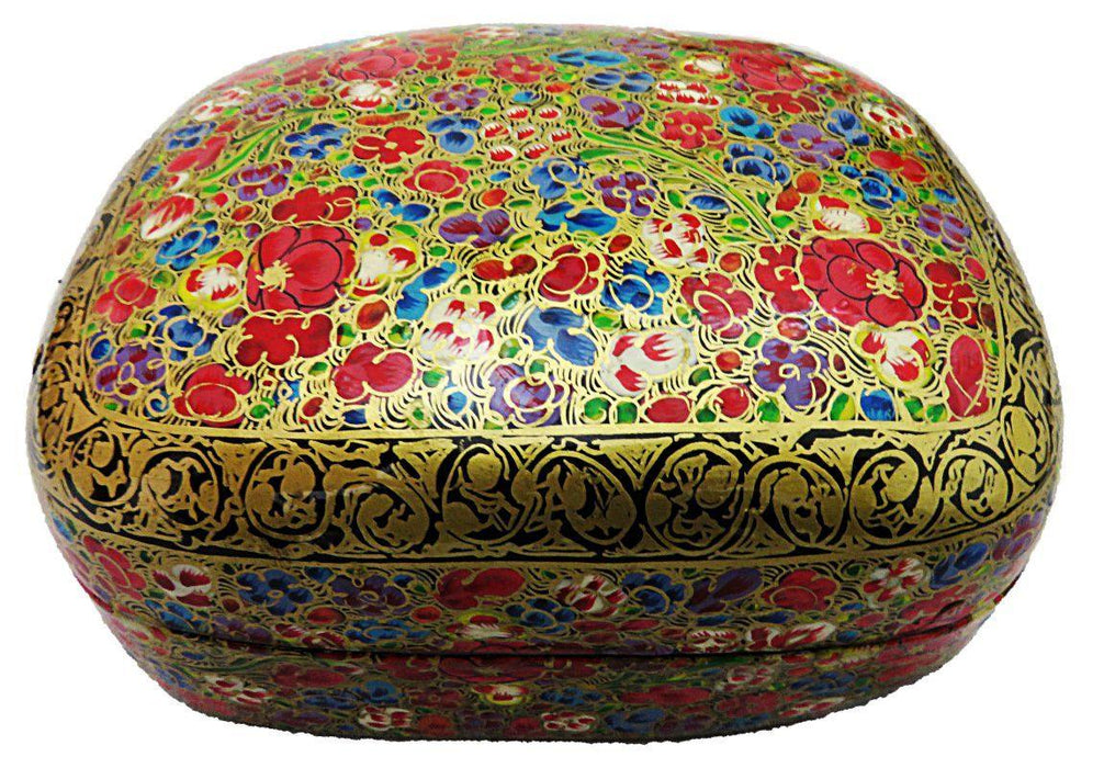 IndicHues Handpainted 4*3 inch Paper Mache Trinket Jewelry Box - IndicHues