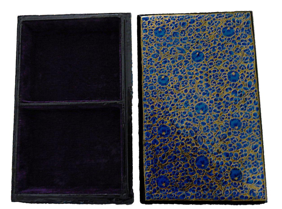IndicHues Handpainted Rectangular Blue Paper Mache Jewelry Box with Velvet lining , two sections from Kashmir