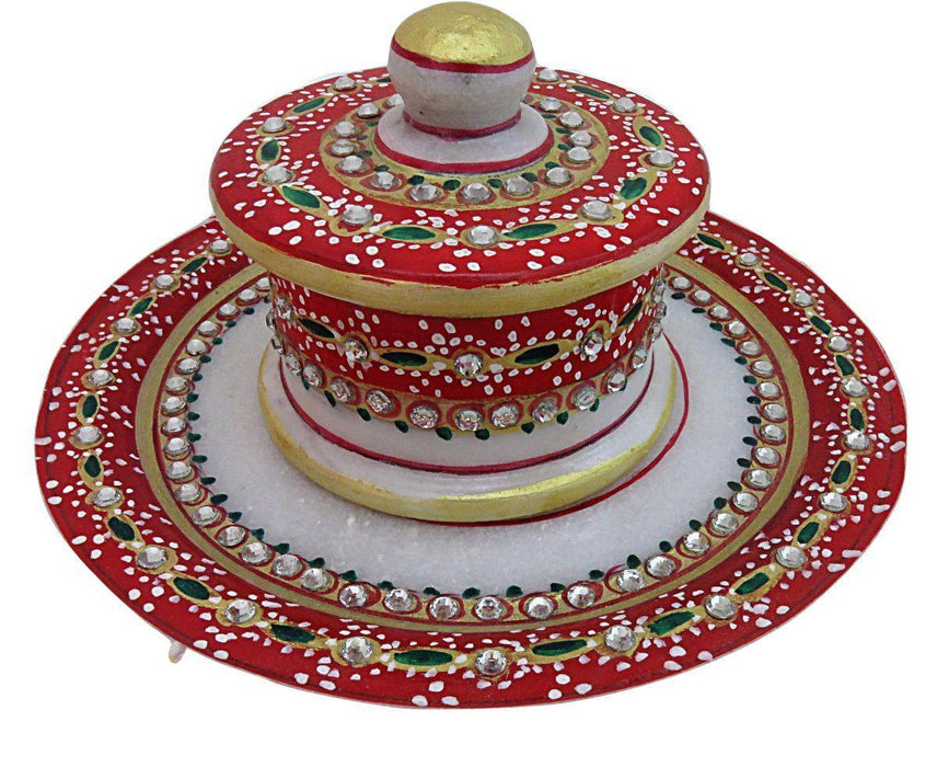 IndicHues Marble Handicraft Hand Painted Round Tray with one Dry Fruit Box / Mouth Freshner Box - IndicHues
