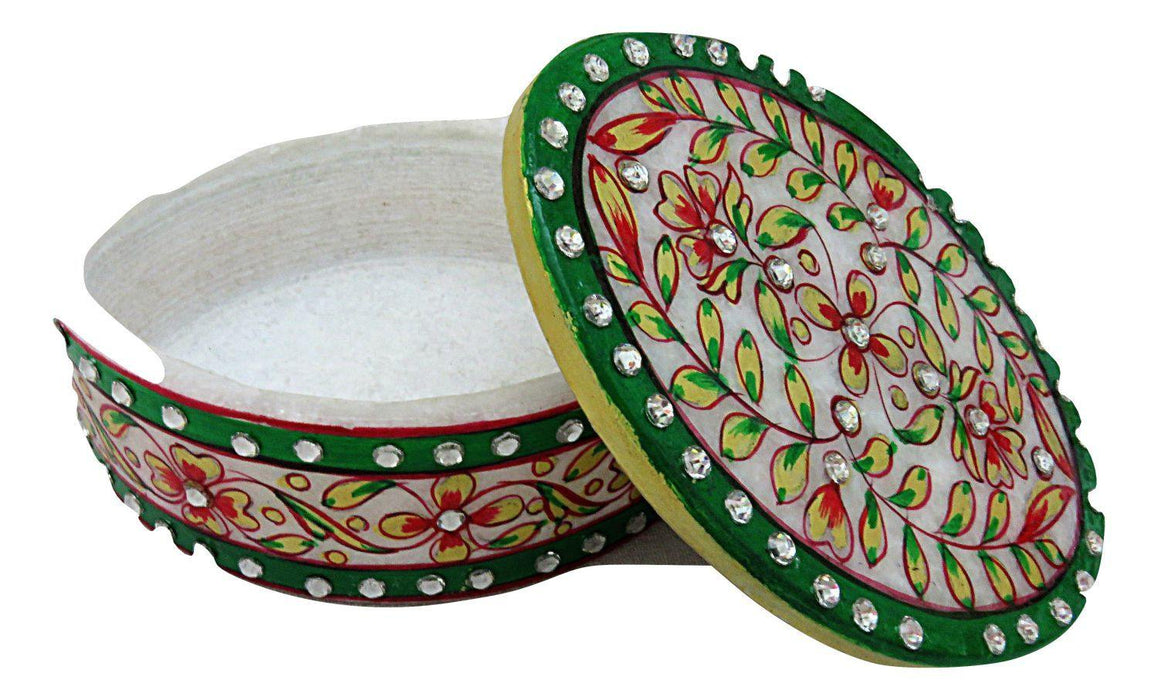 IndicHues  Handmade Marble Oval Decorative Floral Trinket Jewelry Box - IndicHues