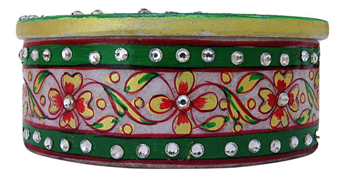 IndicHues  Handmade Marble Oval Decorative Floral Trinket Jewelry Box