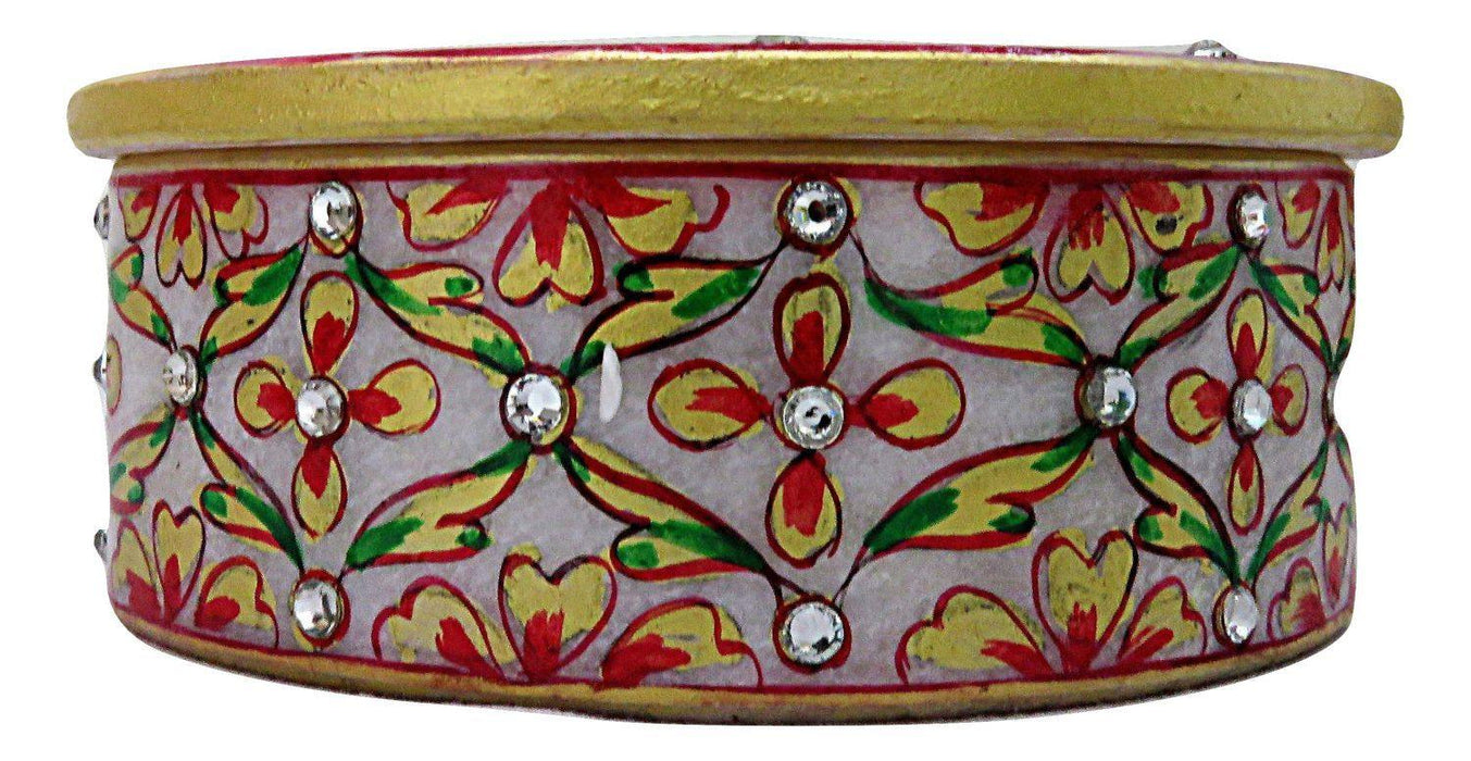 IndicHues  Handmade Marble Oval Decorative Floral Trinket Jewelry Box for Women