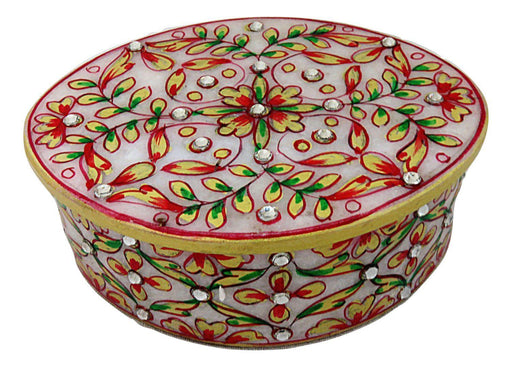 IndicHues  Handmade Marble Oval Decorative Floral Trinket Jewelry Box for Women - IndicHues