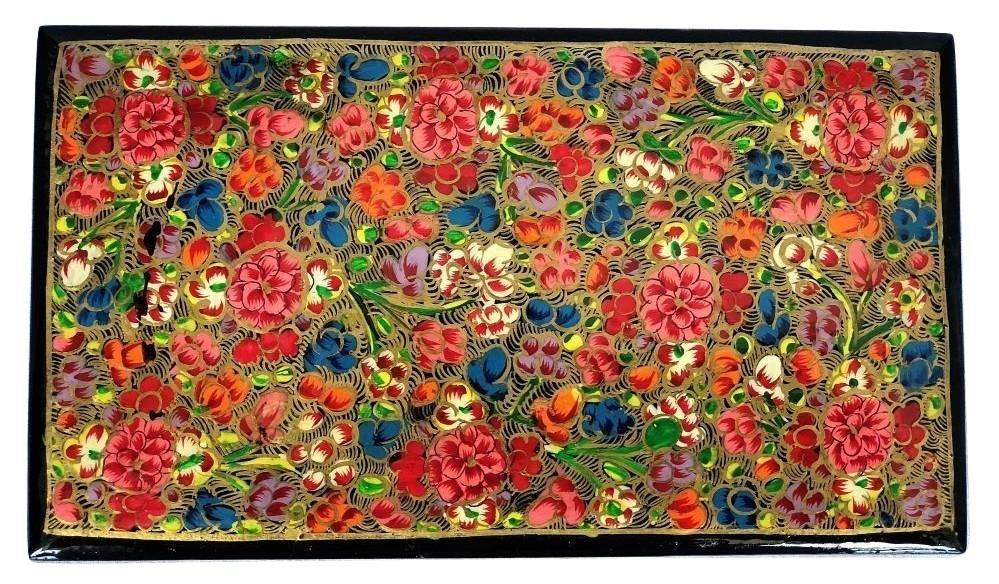 IndicHues Handmade Rectangular Floral Motif Paper Mache Jewelry Box from Kashmir - IndicHues