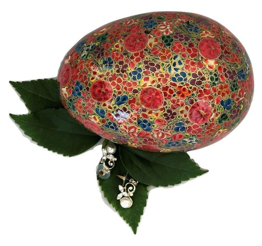 IndicHues Handmade Oval Floral Motif Paper Mache Jewelry Box from Kashmir - IndicHues