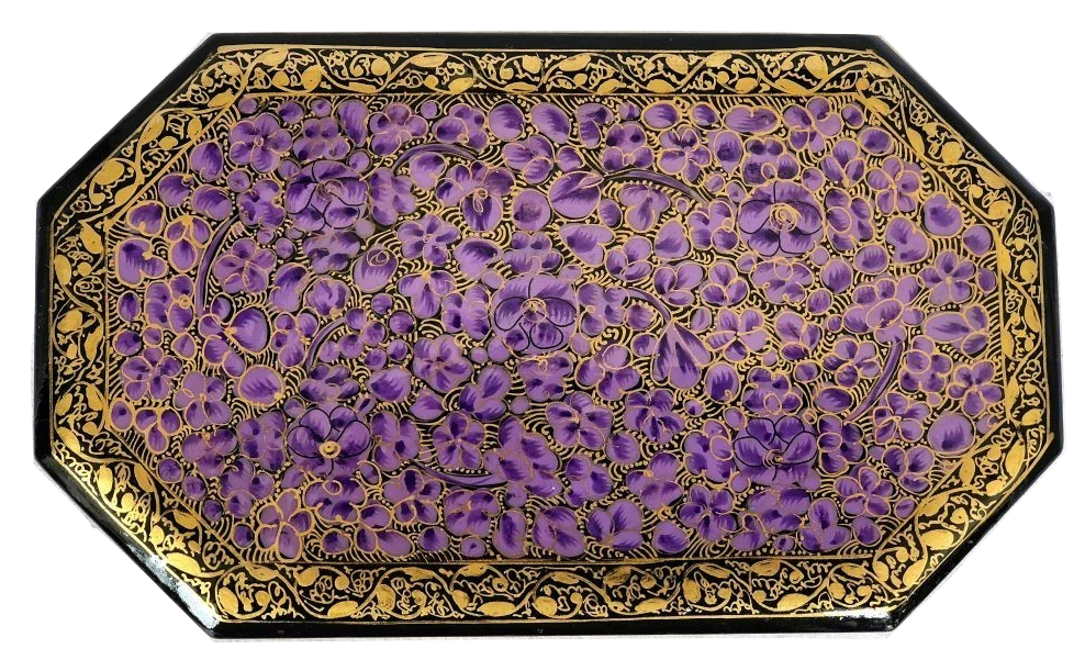 IndicHues Handmade Purple Floral Motif Paper Mache Jewelry Box from Kashmir
