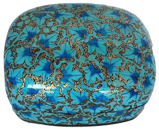 IndicHues Handmade Rectangular Blue Floral Motif Paper Mache Jewelry Box from Kashmir - IndicHues