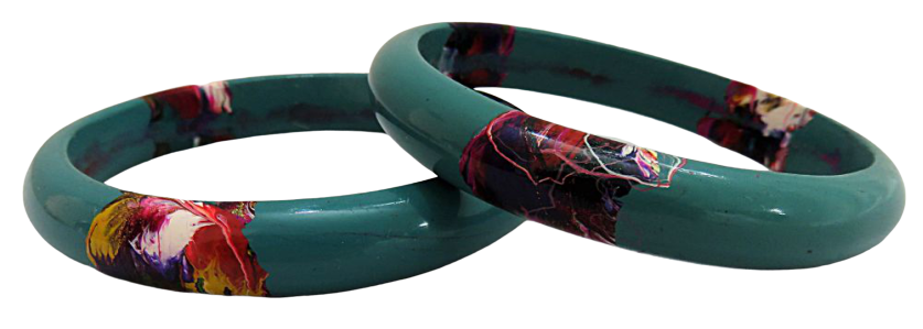 IndicHues Stylish Handmade Blue Lac Bangles Set of 2 from Rajasthan.