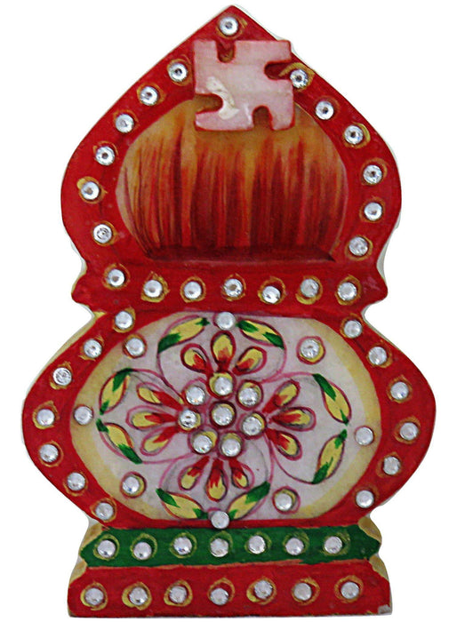 IndicHues Traditional Rajasthani Handicraft Marble Pooja Chopad for  in Ganesha design for Tilak / Roli/ Kumkum and Rice