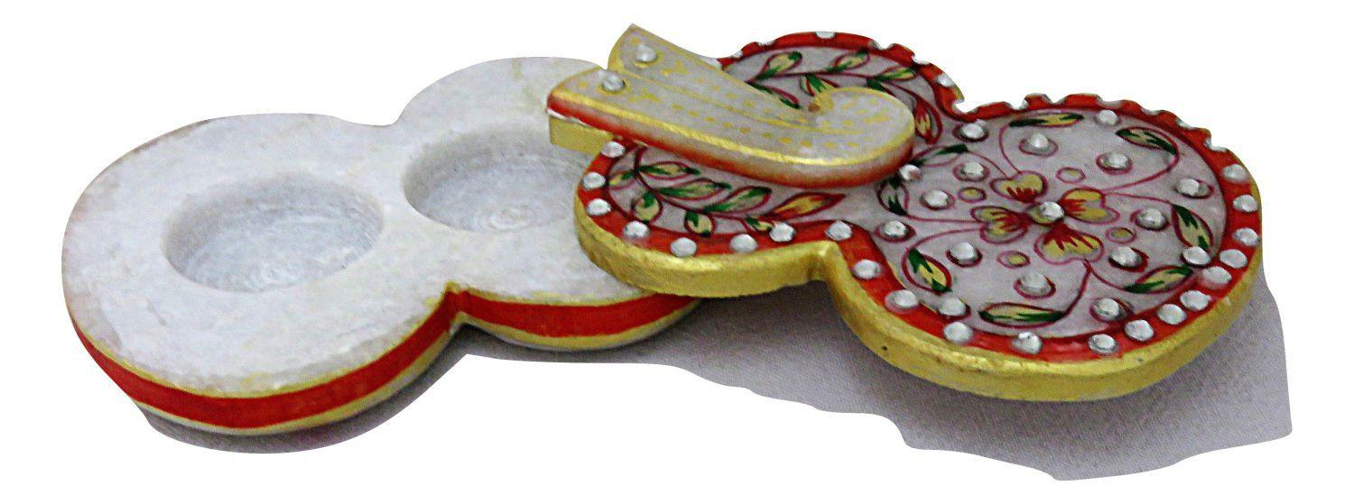 IndicHues Traditional Rajasthani Handicraft Marble Pooja Chopad for  in Ganesha design for Tilak / Roli/ Kumkum and Rice - IndicHues