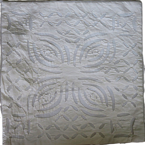 IndicHues White Cotton Applique Cushion Cover 16x16 - IndicHues