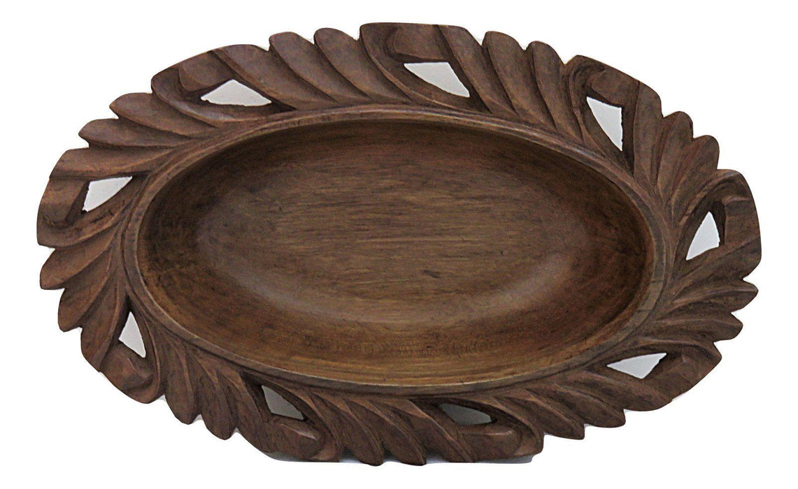 IndicHues Wooden Hand Turned Walnut Oval Bowl With Carving from Kashmir - IndicHues